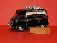 Black Fiat 600 Multipla 1962 Hearse Wagon made of resin with Coffin mint boxed
