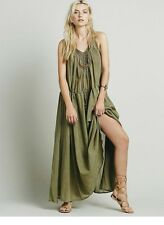 NEW Free People Endless Summer Major Maxi Dress Linen Long Gold Green Size M