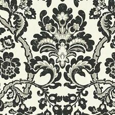 Wallpaper Designer Large Modern Black and Silver Damask on Pearlized White