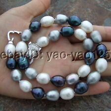 S102308 17'' 9x12mm Multi Color Rice Pearl Necklace