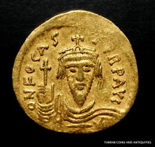 ANCIENT BYZANTINE COIN FOCAS, 602-610 AD SCARCE OFICINA LETTER ON REVERSE! GOLD!