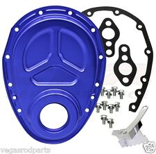 CHEVY SMALL BLOCK 283-305-327-350-400 ALUMINUM TIMING CHAIN COVER BLUE ROLLER CA