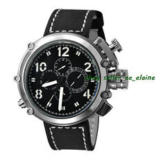 Parnis 50mm Men Automatic Watch Big Face Stainless Steel Case Black Sterile Dial