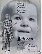 Publicité Advertising 066 1969 Materna vêtement pour maman et bébé