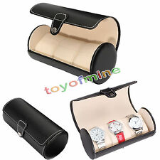 3 Slot Watch Travel Case PU Leather Roll Box Collector Organizer Jewelry Storage