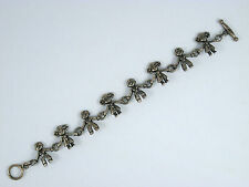 Vintage Sterling Silver Children Boys & Girls Holding Hands Toggle Bracelet