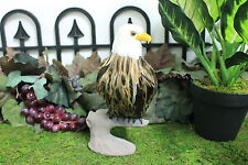 Feather Brown Eagle Taxidermy Medium Stuffed Furry Animal Bald Perched Log M