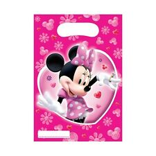 6 Disney Minnie Mouse Pink Birthday Party Plastic Loot Treat Bags