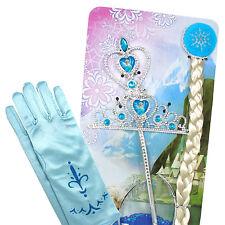 Krone Zauberstab Handschuhe Zopf Diadem für Eiskönigin Frozen Prinzessin Kostüm