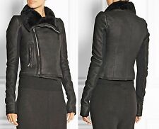 RICK OWENS Black Leather Shearling Fur Biker Moto Funnel Neck Jacket 12 IT46 NWT