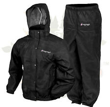 M MD Womens Frogg Frog Toggs Pro Action Rain Jacket Pants Suit Black MEDIUM