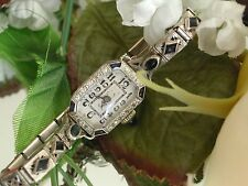 1920's Ladies Art Deco Elem Platinum Diamond & Sapphire Watch ~ SERVICED