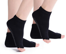 2 PAIR YOGA SOCKS ~ Black Open Toe Non-Slip Pilates Low Ankle Grip Cotton Two