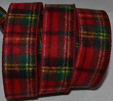 Wired Ribbon~Christmas Blanket Red Tartan Plaid~Green~Gift~Holiday~Wreath~Bow