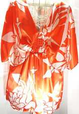 Lane Bryant Blouse Orange White Floral Satin Dolman Flutter Sleeve Shirt 18/20