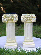 Miniature Dollhouse FAIRY GARDEN Accessories ~ 2 Large Ivory Pedestals ~ NEW