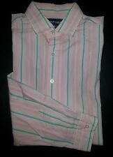 s2003 XL Pink White Green Stripe RALPH LAUREN POLO Westerton Casual Shirt!