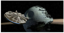 POSTER IN VETRO STAR WARS 25X50 CM MILLENNIUM FALCON MORTE NERA ON GLASS CINEMA