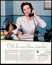 1942 hospital nurse photo American Cyanamid vintage print ad
