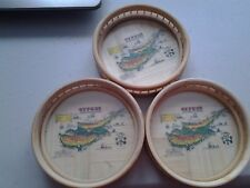 Vintage Cyprus Historical Map Bamboo Wood Coasters Set Of 3