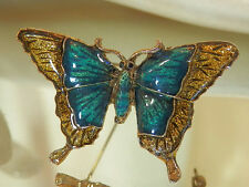 Blue And Gold Enamel Butterfly Brooch Vintage 80's Very Graceful 63F7