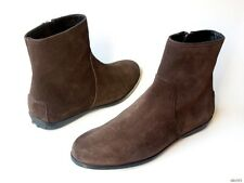 new TODS dark brown suede zipper ANKLE BOOTS shoes 36.5 6.5 - very comfortable