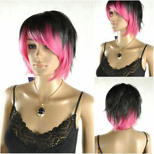 New Short Black & Pink  Woman's lady Like real  hair Wigs +free wig cap