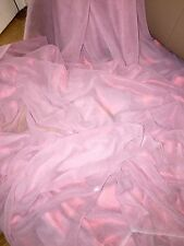 "1 MTR BABY PINK/RED SHIMMER CHIFFON FABRIC...60"" WIDE"