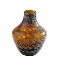 "New 9"" Hand Blown Art Glass Teardrop Vase Bottle Black Amber Decorative"