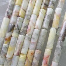 Yellow Crazy Lace Agate Column loose bead 15.5 inch