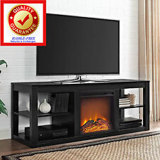 TV Stand Media Entertainment Center Console Electric Fireplace Heater BLACK