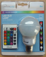3W led couleur changeant BC push en Ampoule B22 GLS Lampe Flash Stroboscope fondu à distance