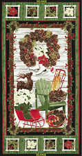 2.6 Yards Quilt Cotton Fabric - Timeless Treasures Country Christmas Panel Met