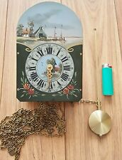 Dutch Friese Clock Movement Hermle Hand Painted Dial Pendulum & Chains FHS