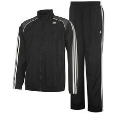 Adidas Men's 3 Stripe Closed Hem Woven Tracksuit Black/grey (42/44) Large