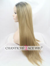 Best Ombre Front Lace Wig Dark Blonde Synthetic Hair Long Straight Heat Safe UK