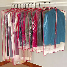 13 Hanging Garment Storage Bags Clear Plastic Zippers Suits Dresses NEW