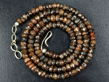 """K-0049 Andalusite Natural Gemstone Black Rondelle Faceted Beads 17"""" Necklace"""