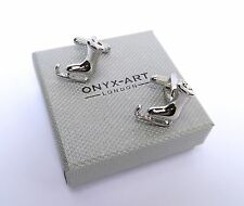 """Skaters """"ICE SKATING BOOTS"""" Shiny Silver Style METAL CUFF LINKS in GIFT BOX-NEW"""