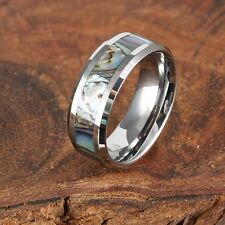 8mm Tungsten Koa Wood with Abalone Shell Ring