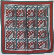 """TERRIART Green, Wine, Ivory Patchwork-Look 27"""" Square Scarf-Vintage"""