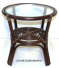 Rich Coffee Round Table with Glass Top Leo Wicker Rattan Handmade Dark Brown