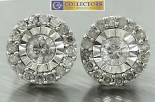 Ladies Modern 14K 585 White Gold Cluster Diamond Stud Screwback Earrings