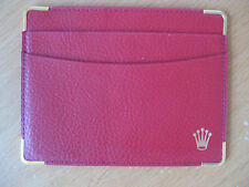 NEW MENS ROLEX RED LEATHER ID BUSINESS CARD CREDIT CARD HOLDER WALLET CASE A