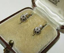 ELEGANT, ANTIQUE,GEORGIAN,FRENCH 18CT GOLD DORMEUSES EARRINGS/NATURAL DIAMOND