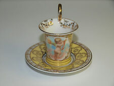 Antique Dresden Demitasse Cup & Saucer with Crown R Saxe & Crossed Swords