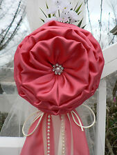 Coral Chair Bows, Pew Bows,  White, Church Aisle decoration, Arch decoration