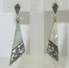 Sterling Silver MARCASITE & MOTHER OF PEARL Art Deco Style Long Drop Earrings