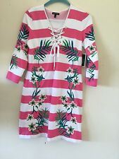 Juicy Couture ladies size large NWT embroidered detailed striped dress