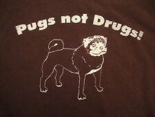 Get Pugs Not Drugs Dog Doggy Puppy Lover Cute Gift Distressed Print T Shirt XL